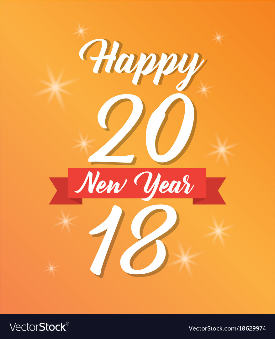 Happy new year 2018 poster light glowing yellow
