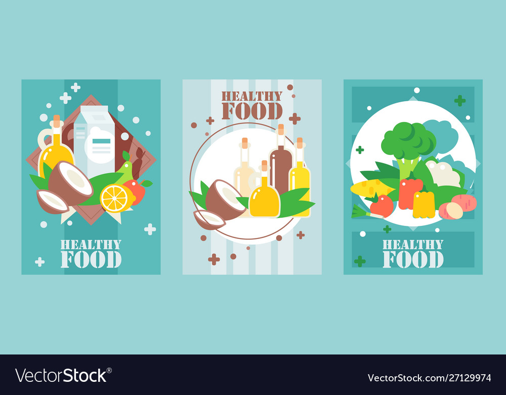 Healthy food banners flat