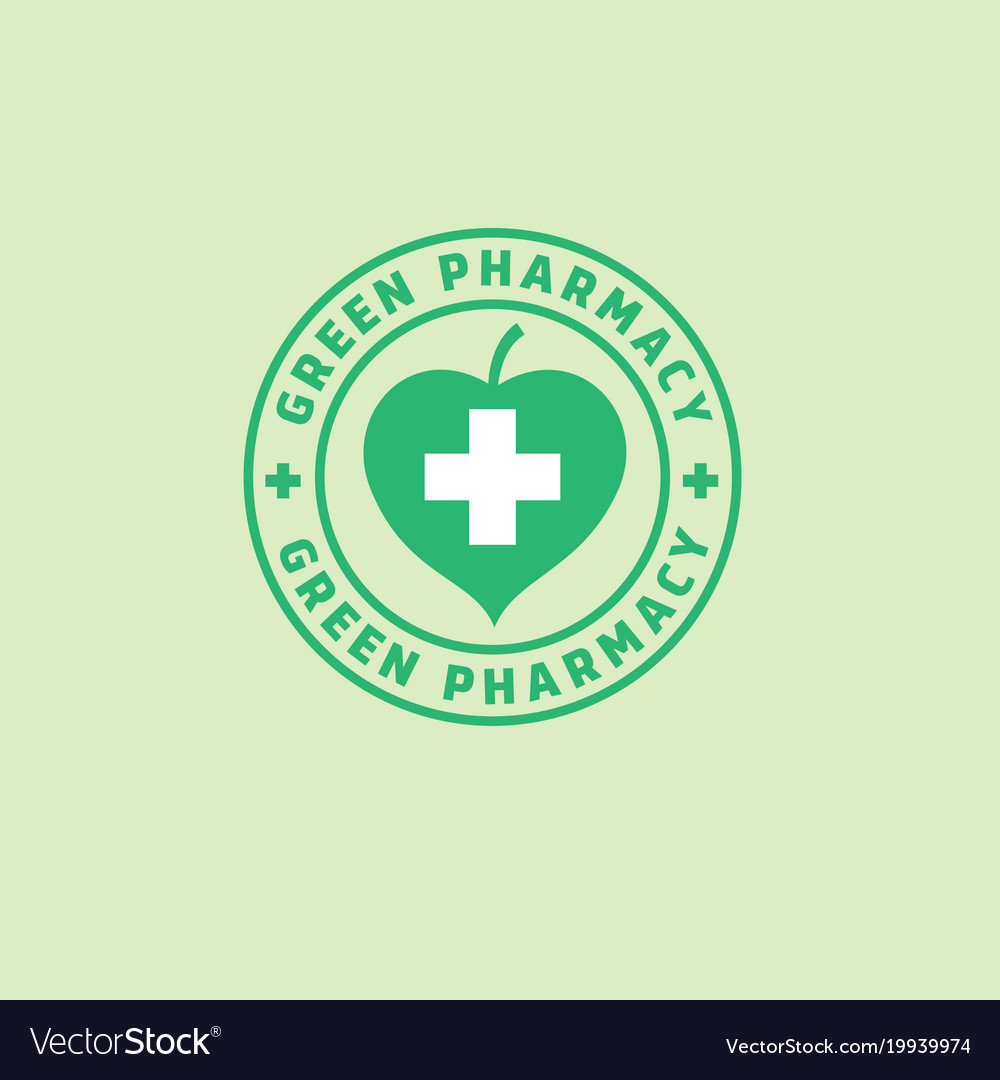 Logo green pharmacy leaf cross