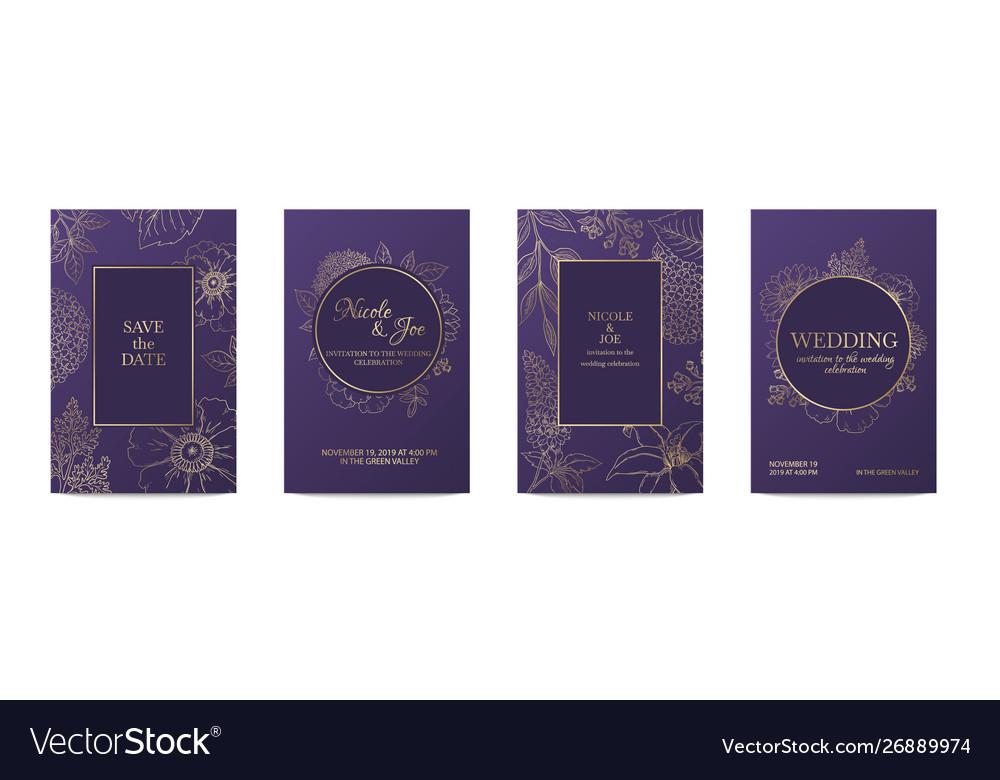 Luxury invitation card wedding decorative floral