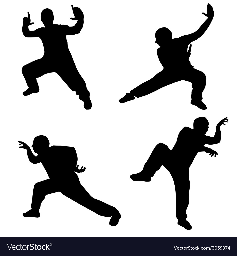 Man in martial poses silhouette