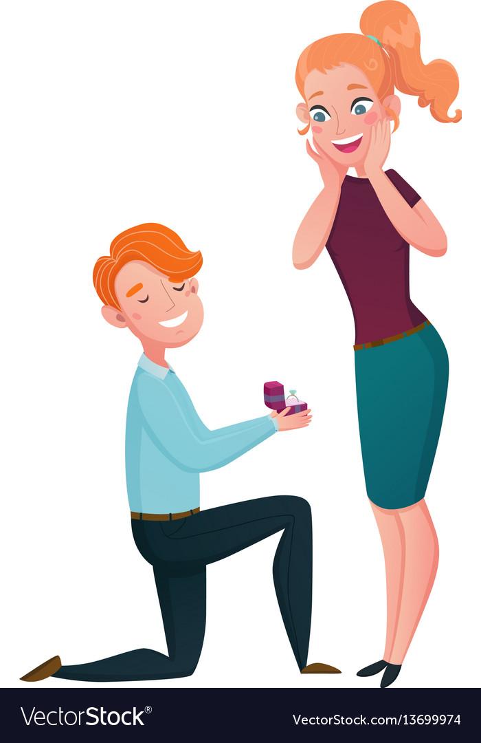 Marriage proposal man kneeling cartoon scene