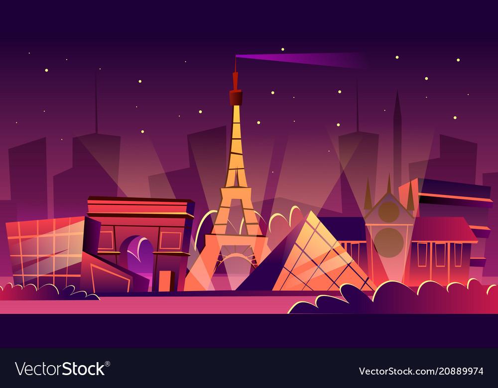 Paris night cityscape cartoon