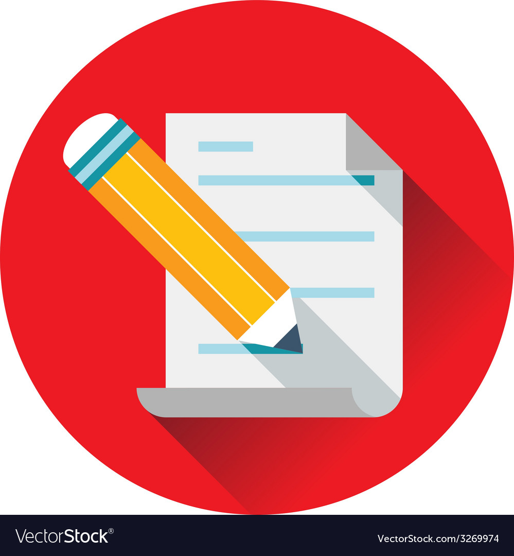 Pencil writing text on paper icon vector image