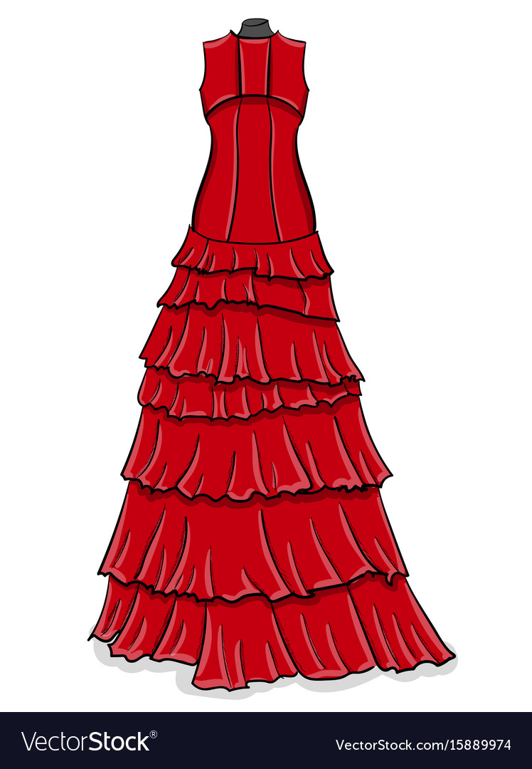 Red long evening dress with frills on a white