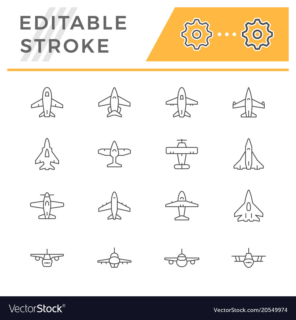 Set line icons of plane