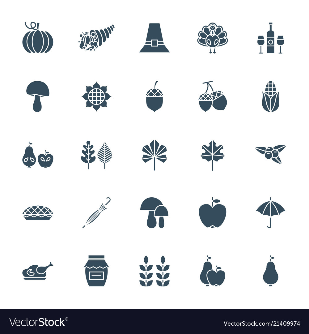 Thanksgiving day solid web icons