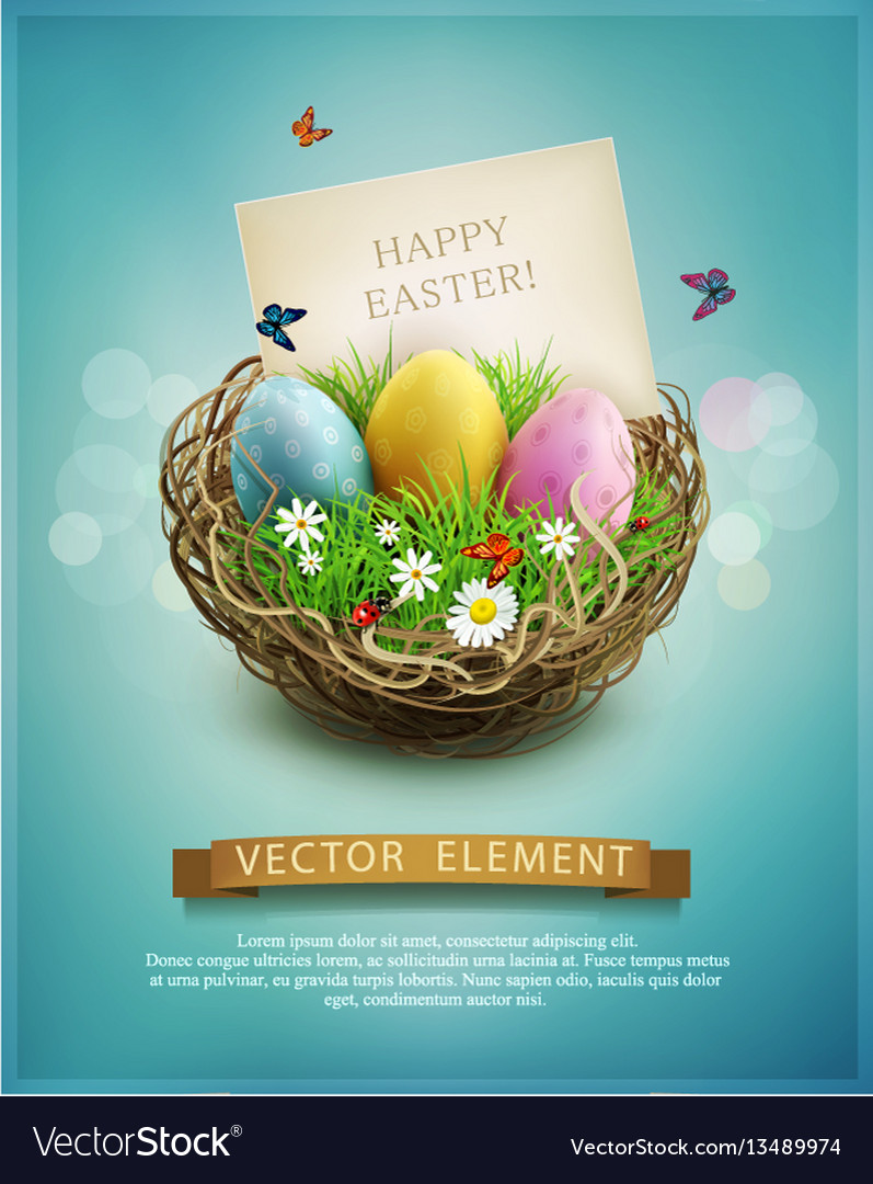 Vintage easter eggs in a wicker nest green grass