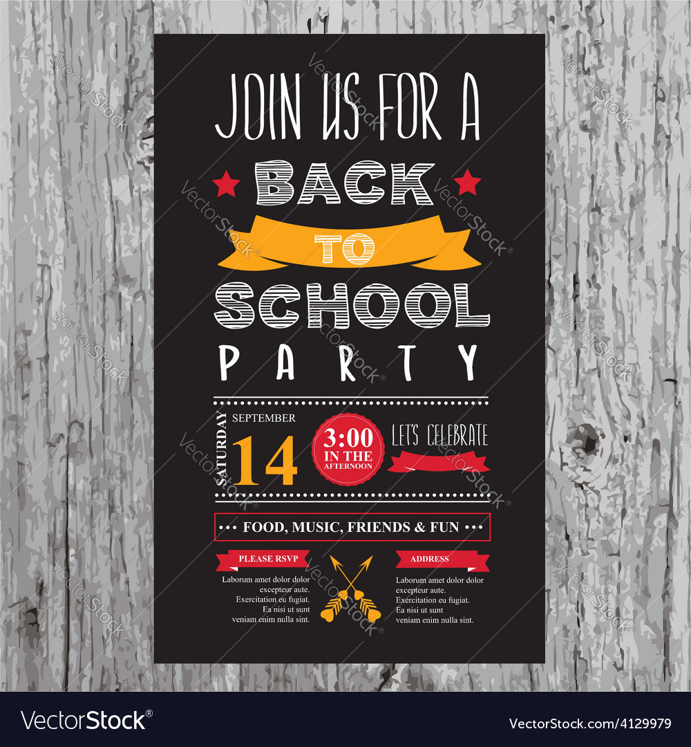 Back to school party invitation template stock illustration.