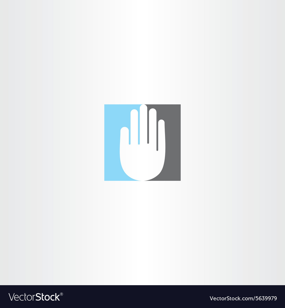 Blue black human hand icon logo
