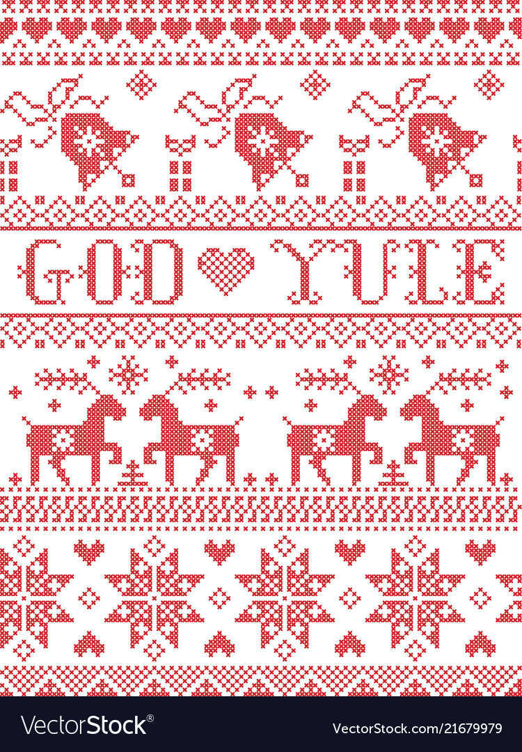 Christmas pattern norwegian god yule Royalty Free Vector