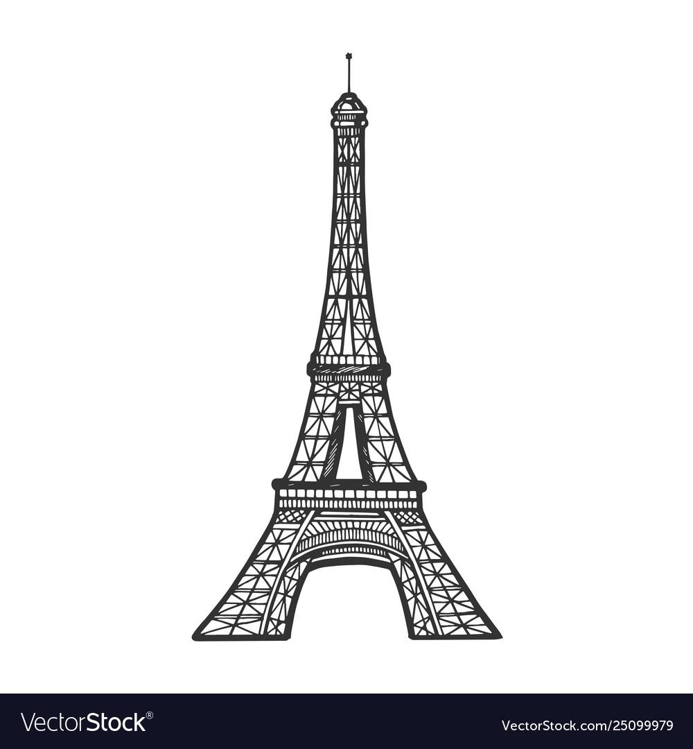Eiffel Tower Sketch Engraving Royalty Free Vector Image