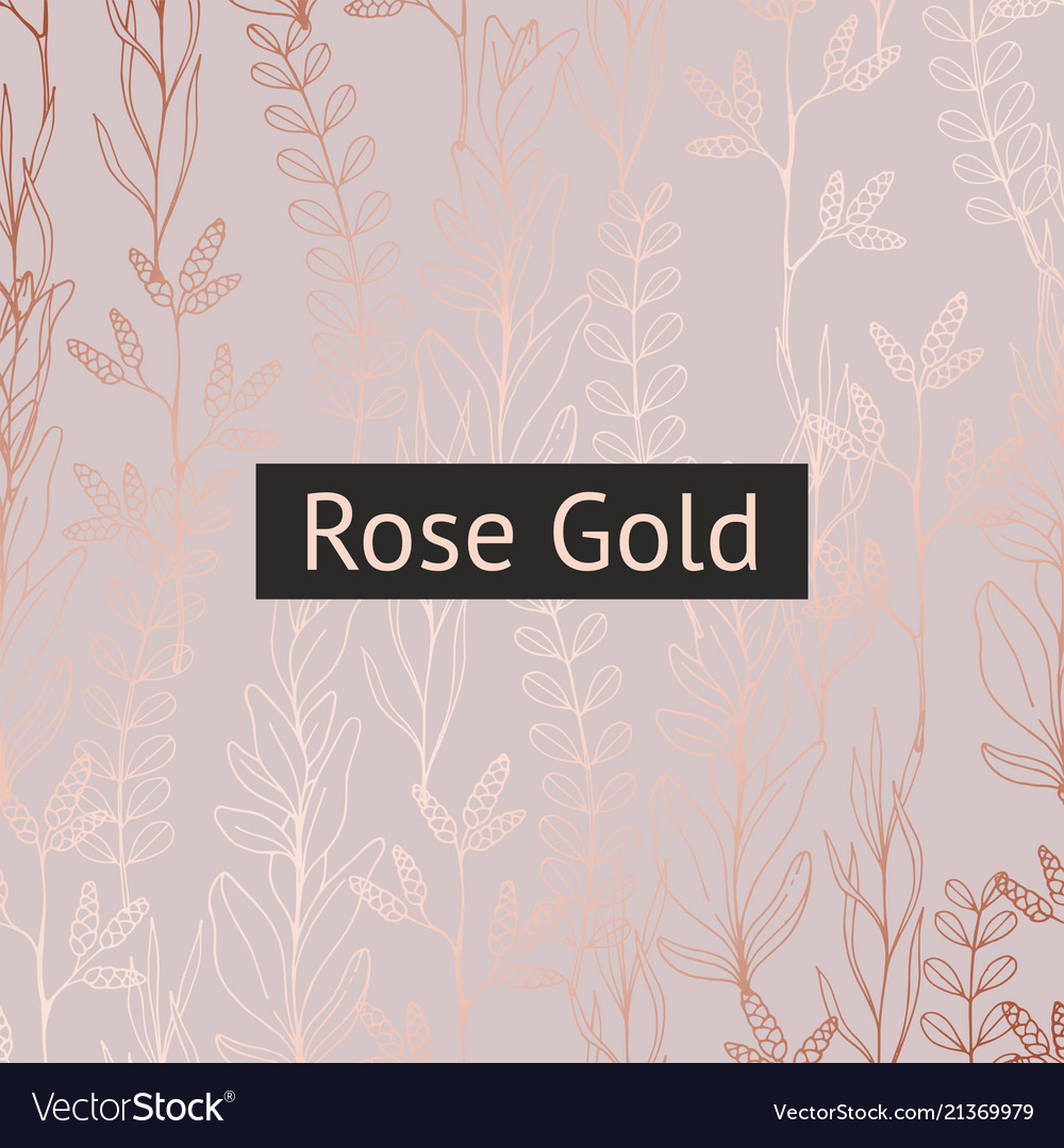 Floral pattern with rose gold imitation for