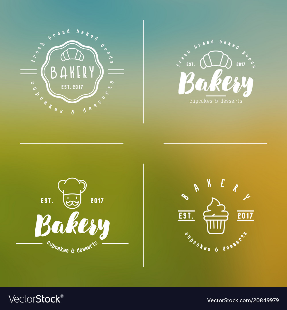 Four styles of bakery logo with thin line icons