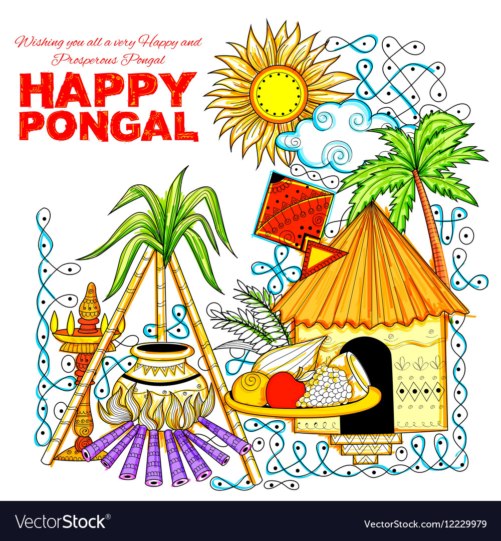 Happy pongal greeting background royalty free vector image happy pongal greeting background vector image m4hsunfo