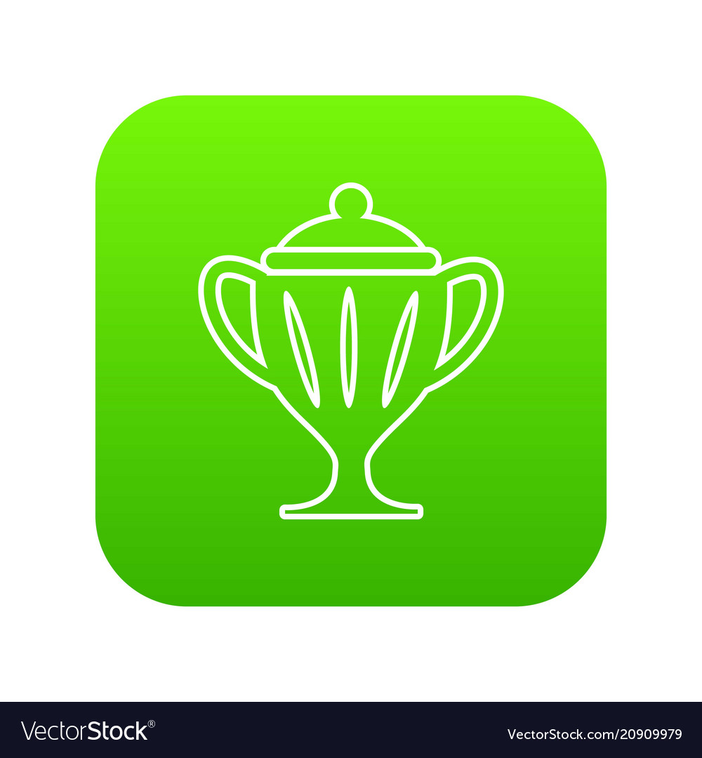 Ice hockey cup icon green