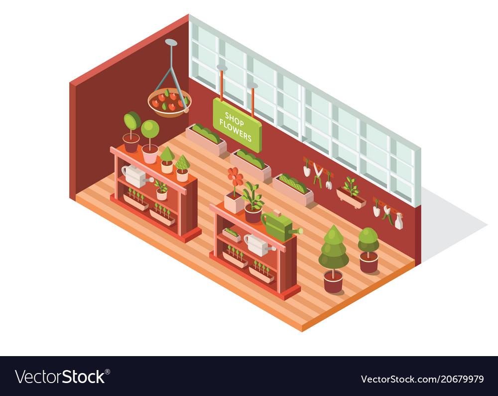 Isometric flower shop