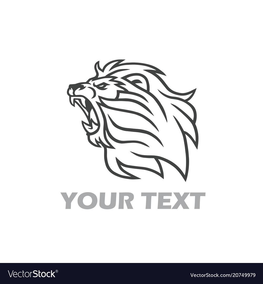 Lion roaring logo line art design template
