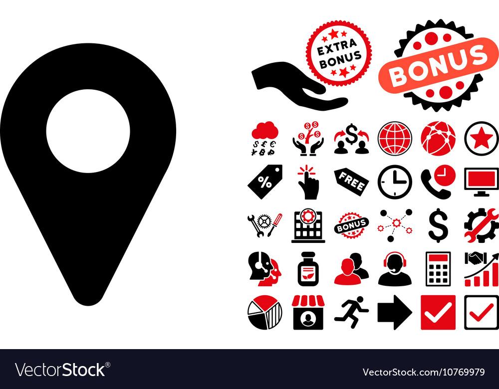 Map Marker Flat Icon with Bonus