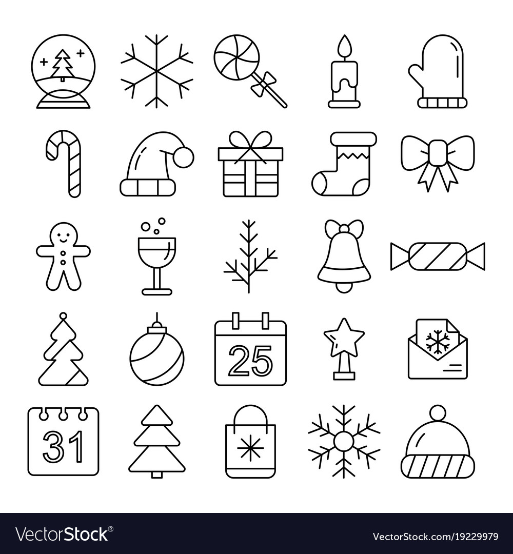 New year icons christmas party elements new year