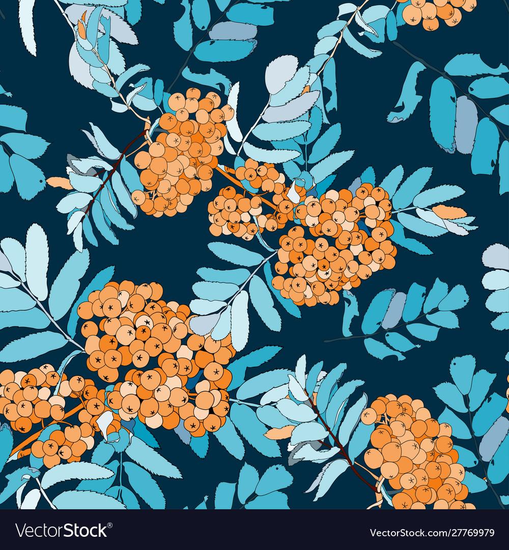 Rowan seamless pattern with orange rowan berries
