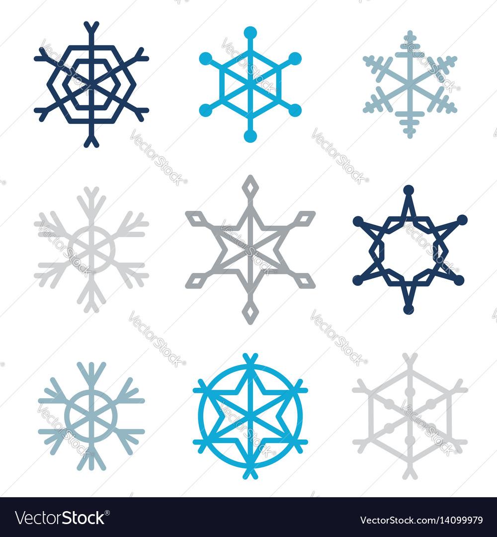 Set of nine snowflakes