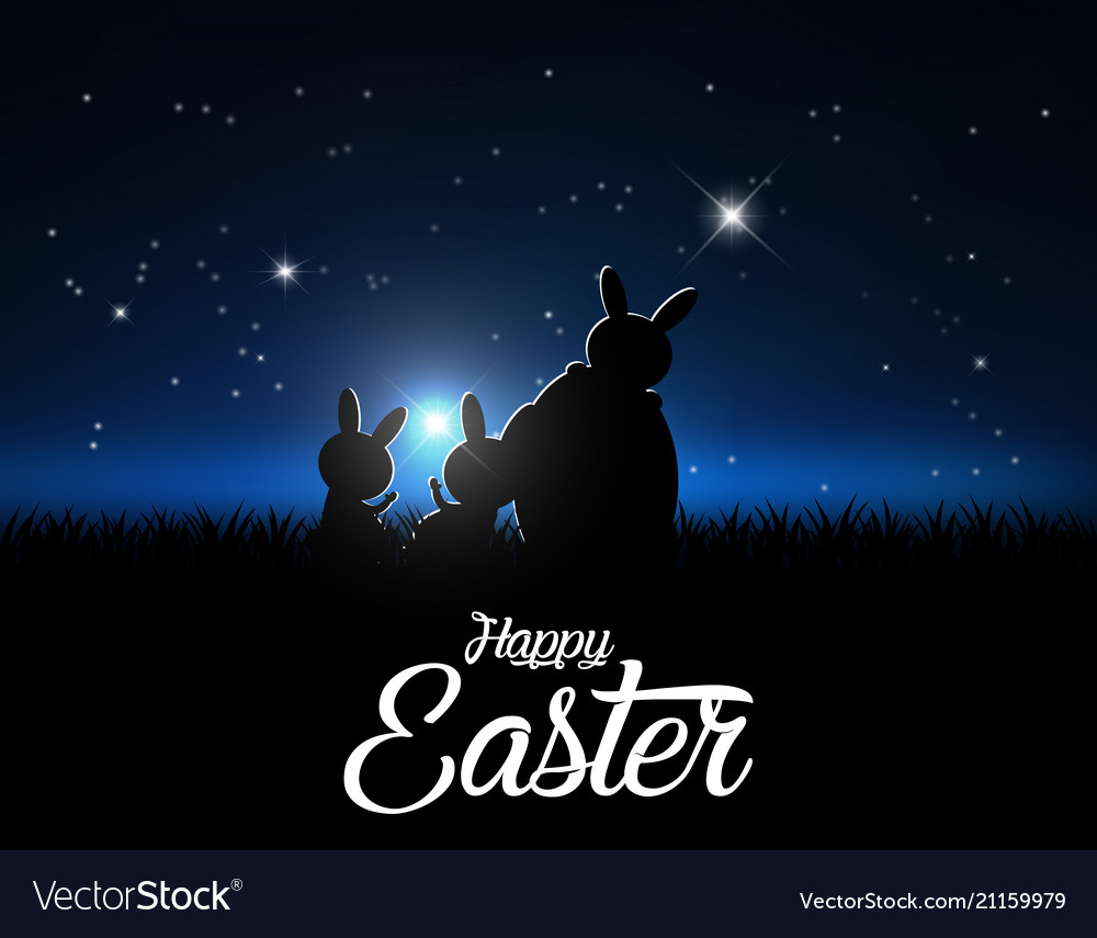 Silhouettes of easter bunnies against a moonlight