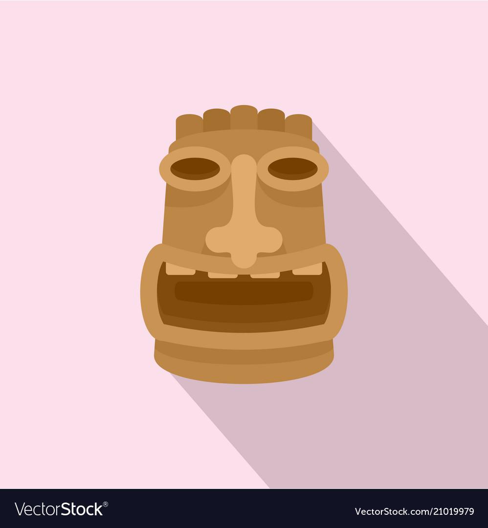 Tiki wood idol icon flat style