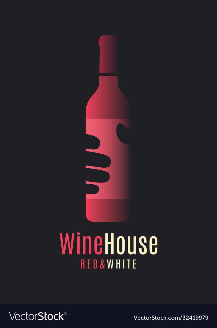 Wine bottle logo hand hold wine on background
