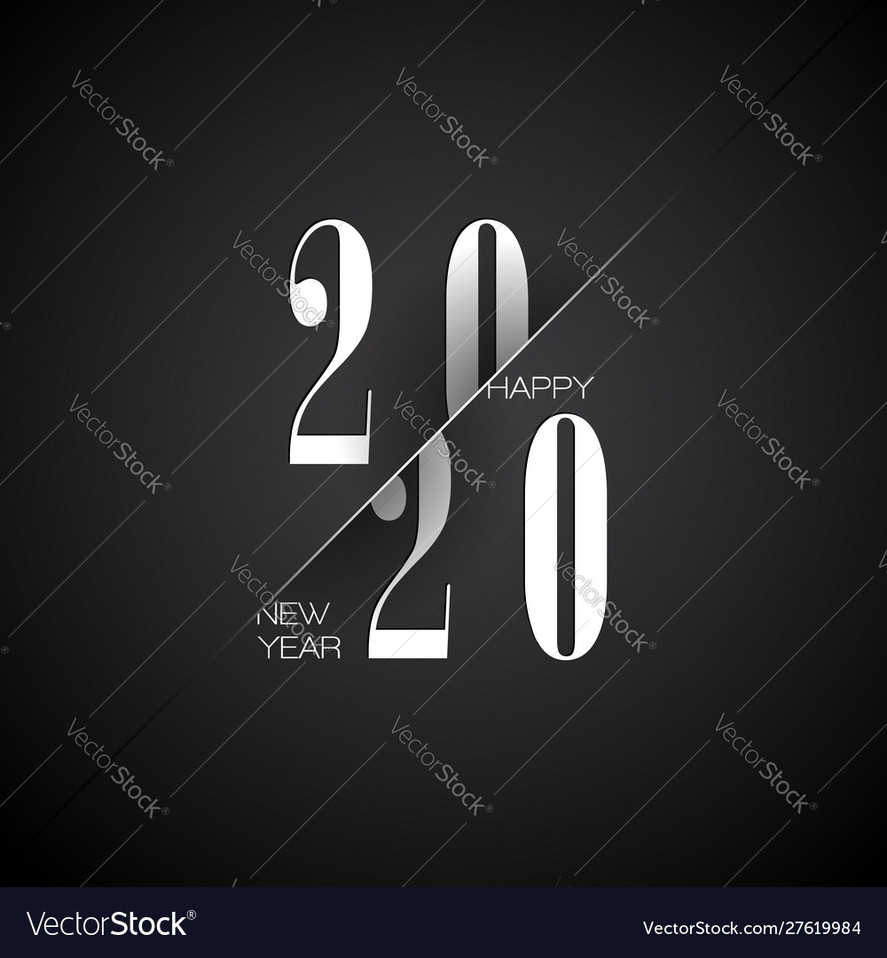 2020 happy new year with typography