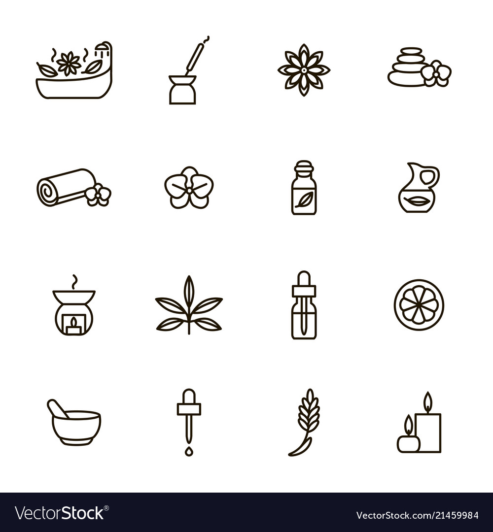 Aromatherapy and spa signs black thin line icon