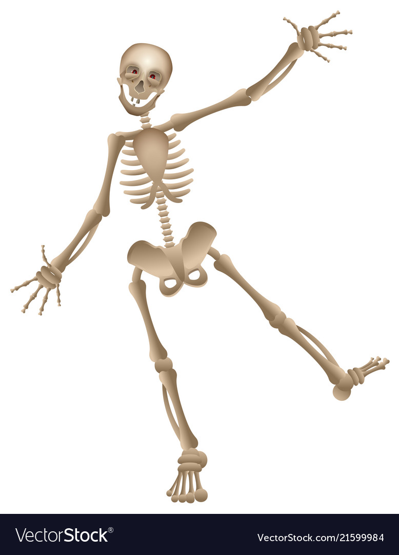 Cartoon human skeleton dancing halloween