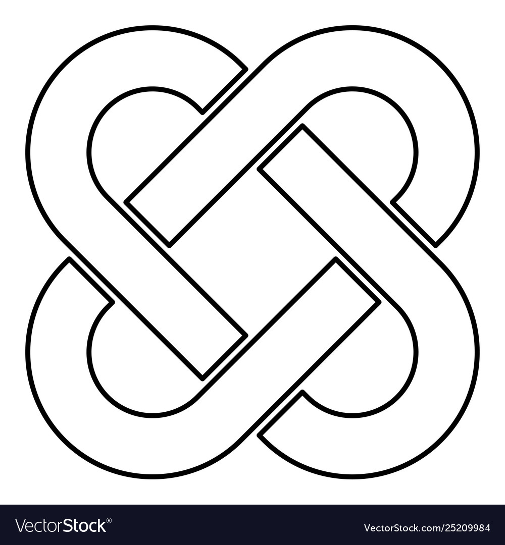 Celtic knot icon outline black color flat style