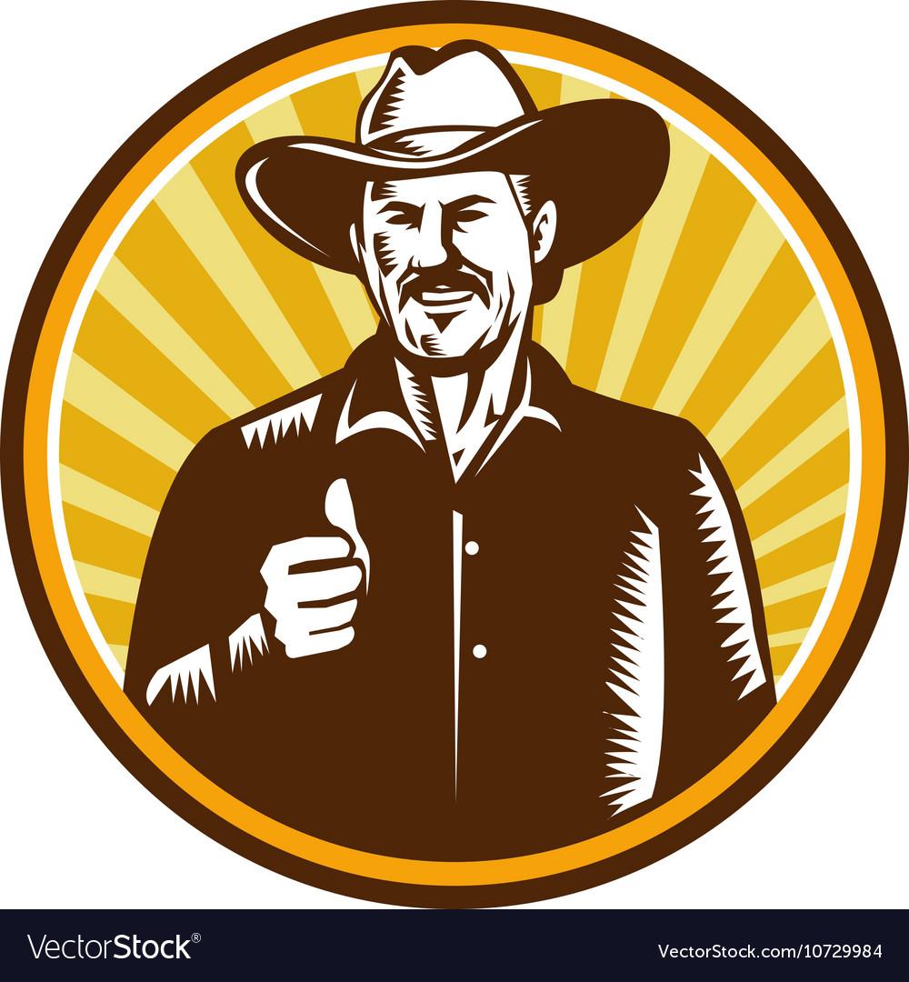 Cowboy Thumbs Up Sunburst Circle Woodcut