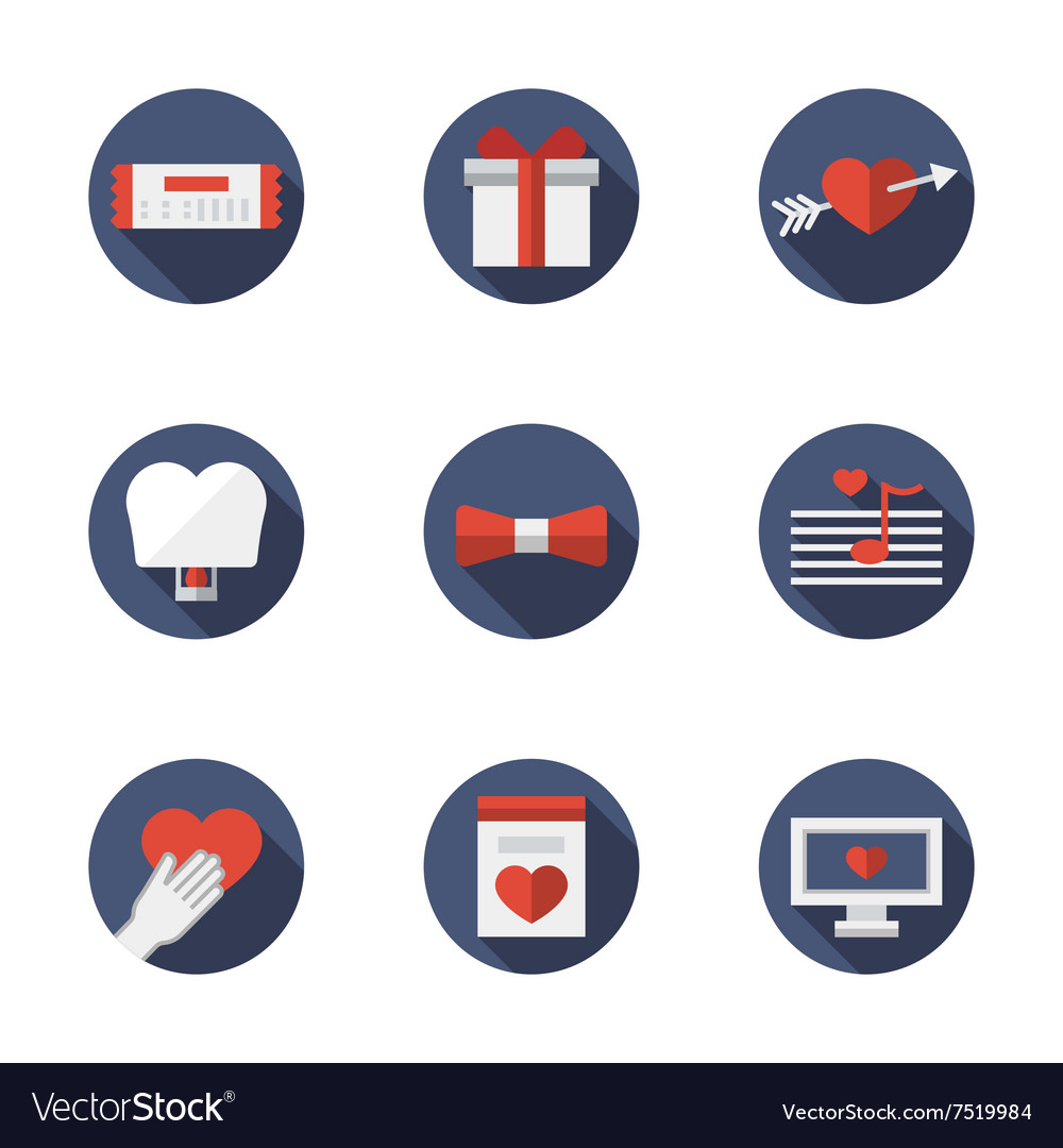 Flat blue round love relationships icons