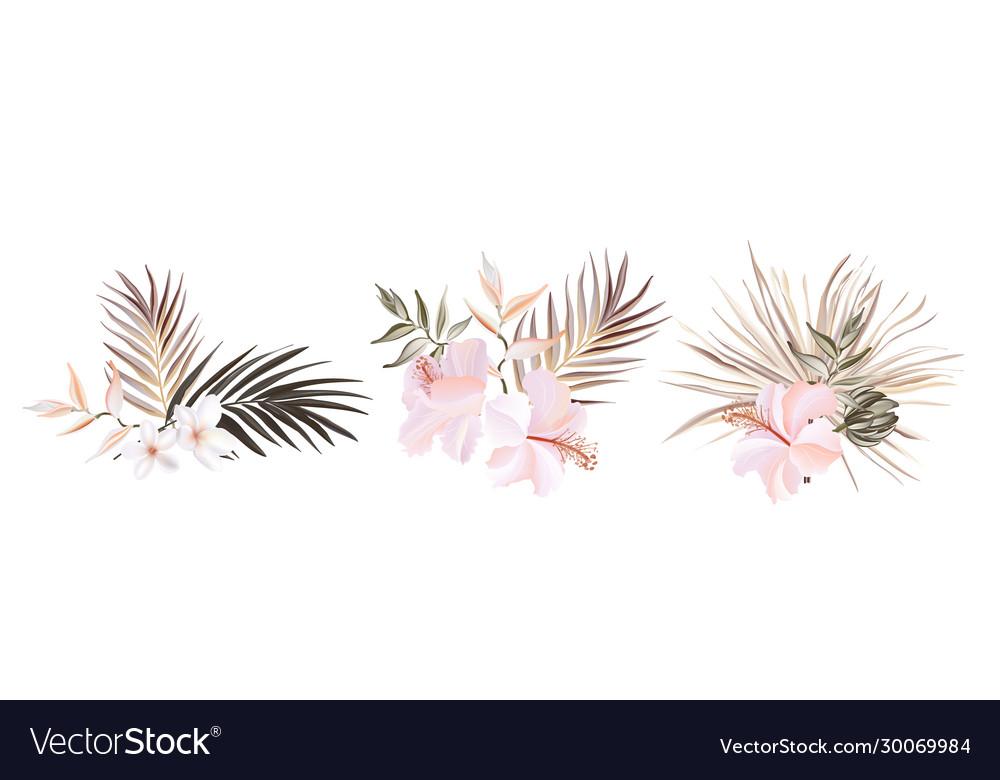 Floral hibiscus palm card design wild garden
