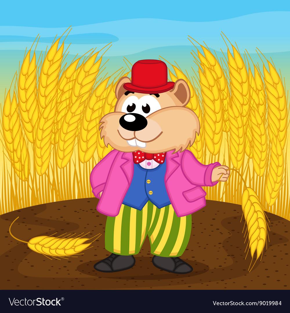 Hamster near wheat field