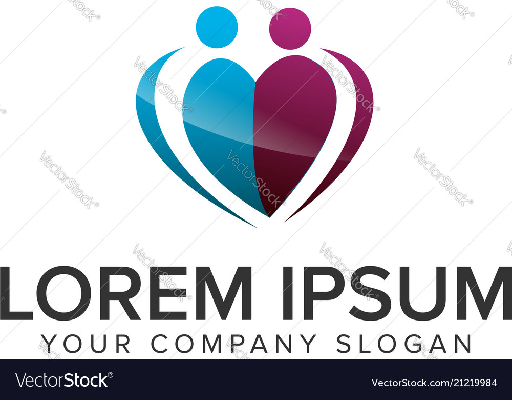 Heart people logo design concept template