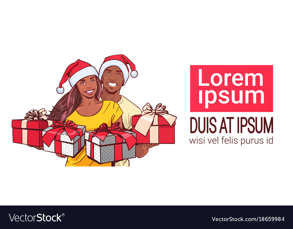 new year couple african american wearing santa vector image