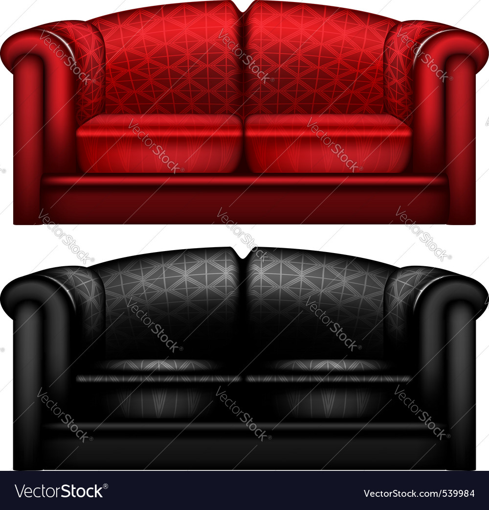 Red and black leather sofa Royalty Free Vector Image