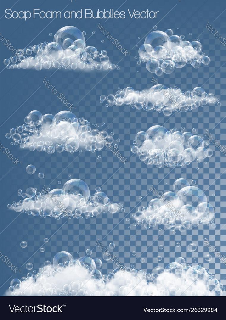 Set transparent soap bubbles and foam