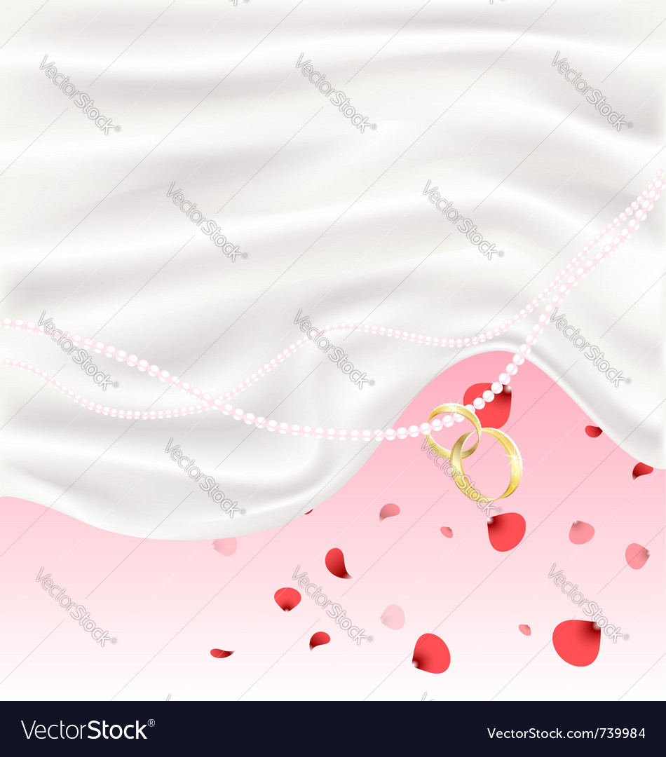 Silk red petals and two golden rings vector image