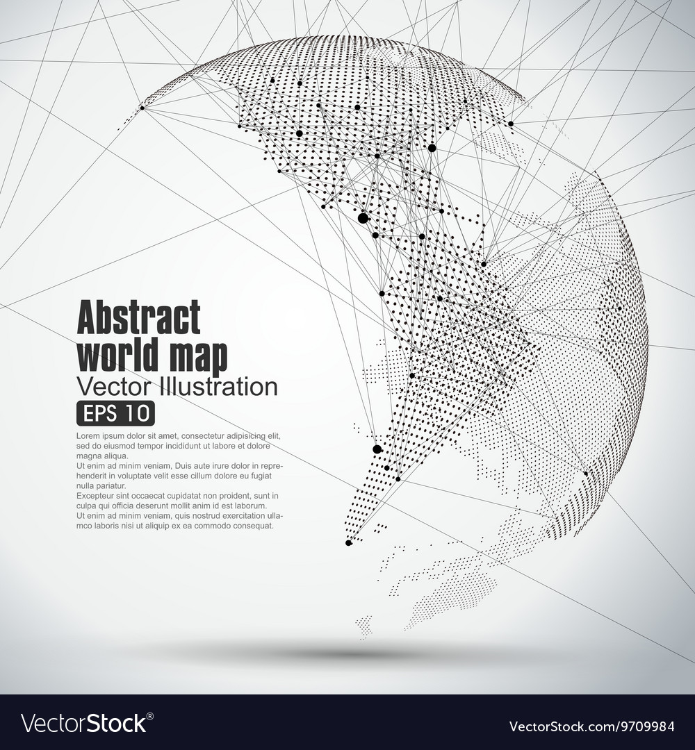 Three dimensional abstract planet dot world map vector image publicscrutiny Gallery