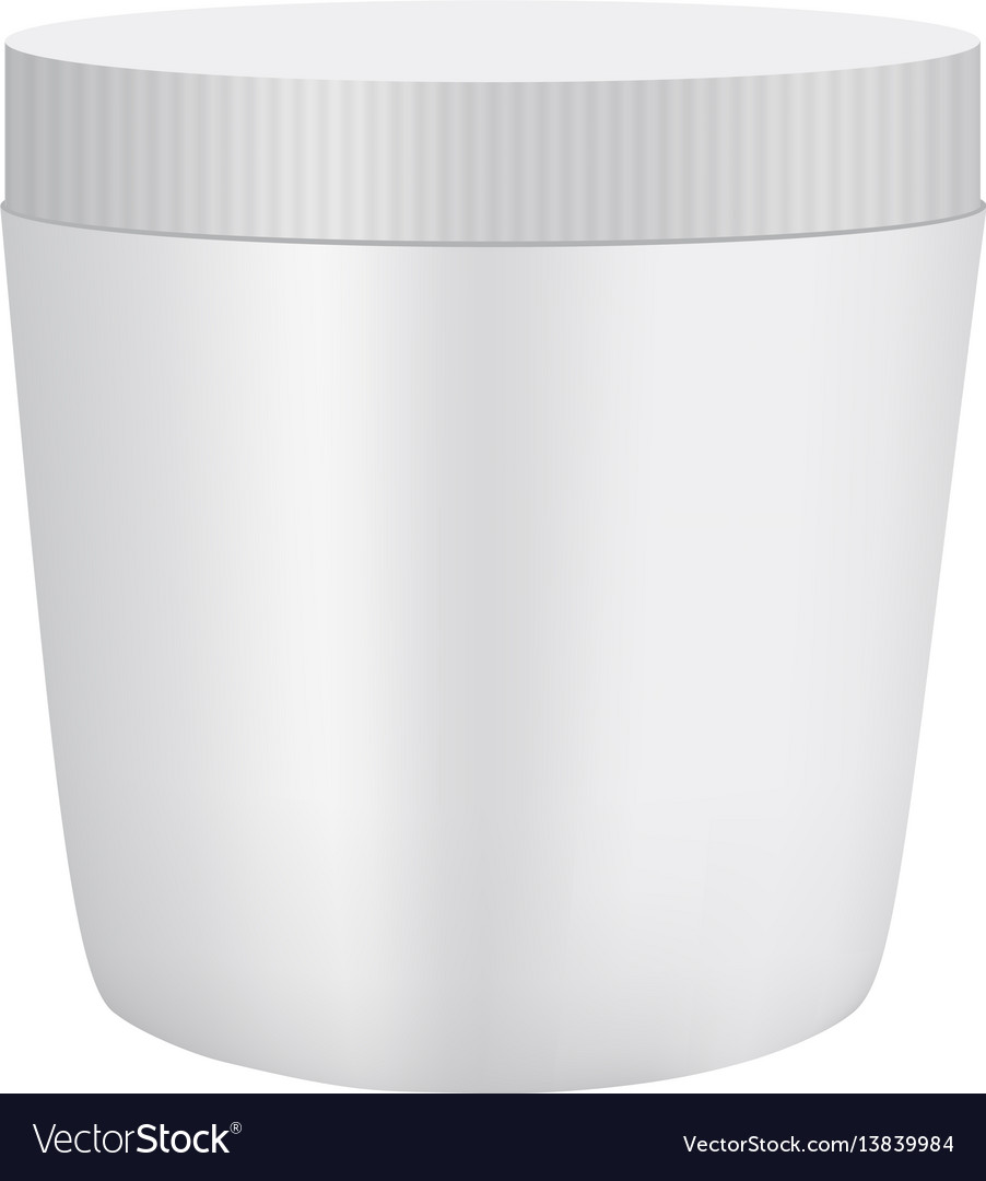 White plastic cosmetic container mockup vector image