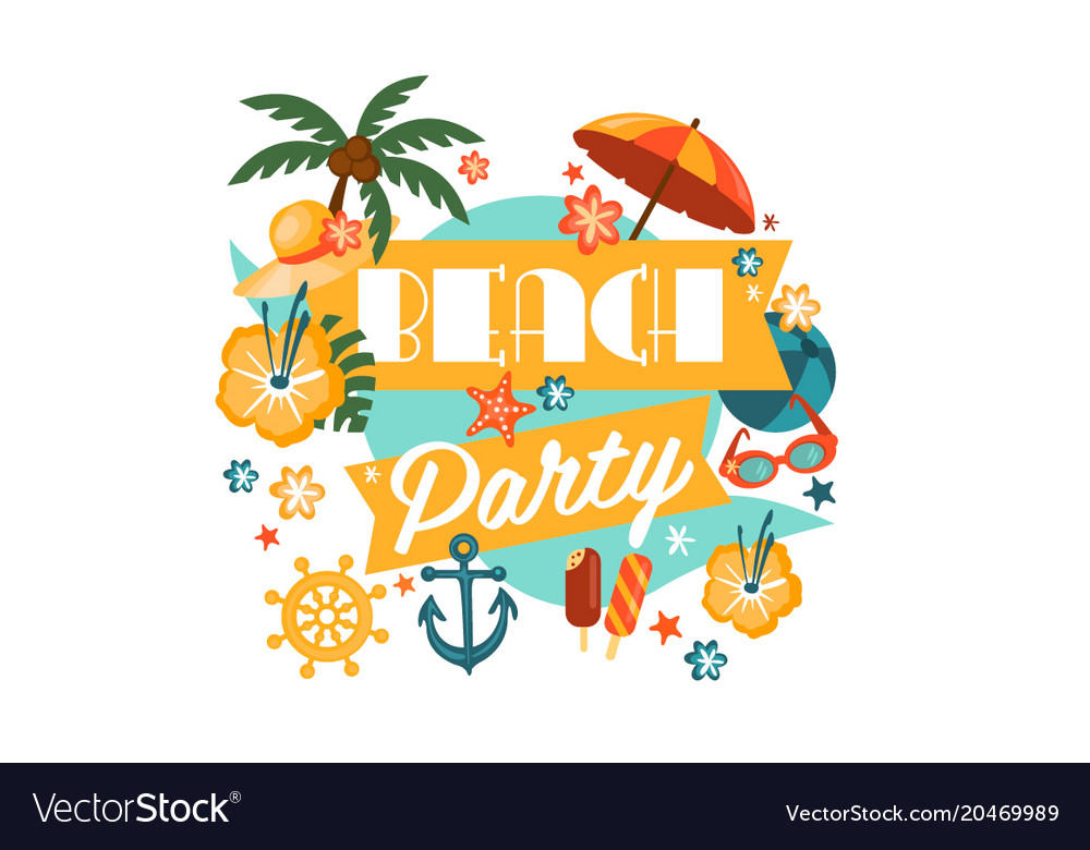 Beach party poster with palm umbrella anchor