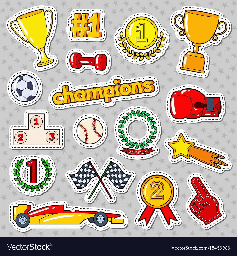 Champions doodle with medals prize
