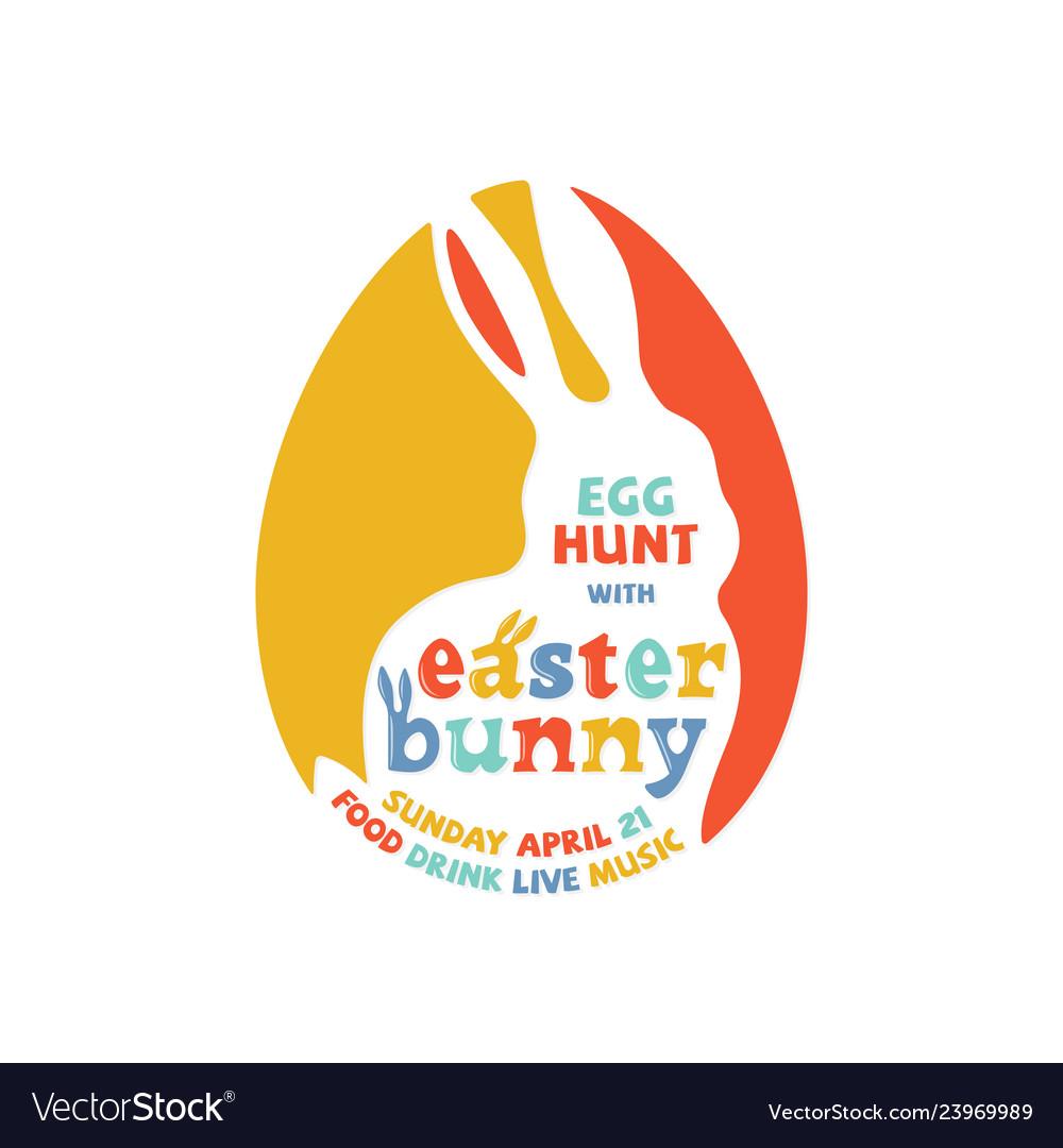 Colorful easter bunny lettering