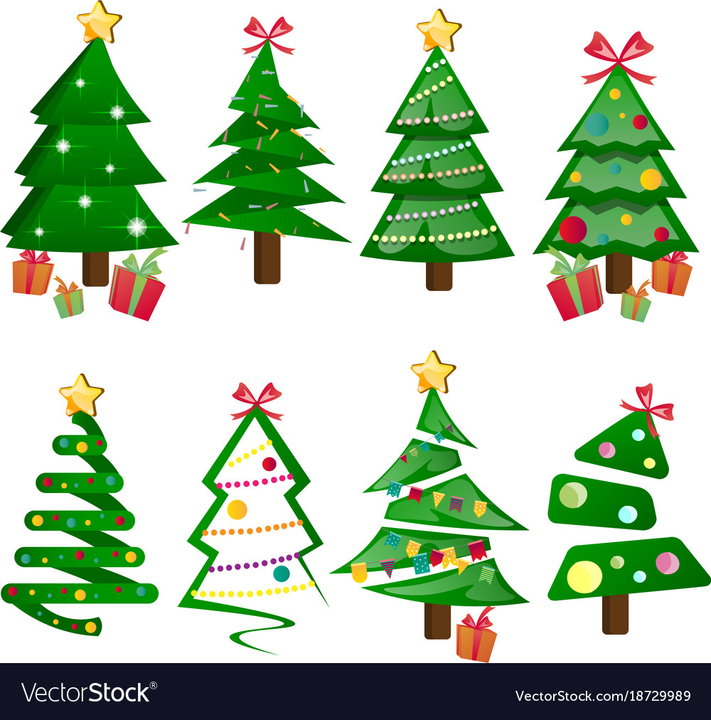 Different christmas tree set isolated