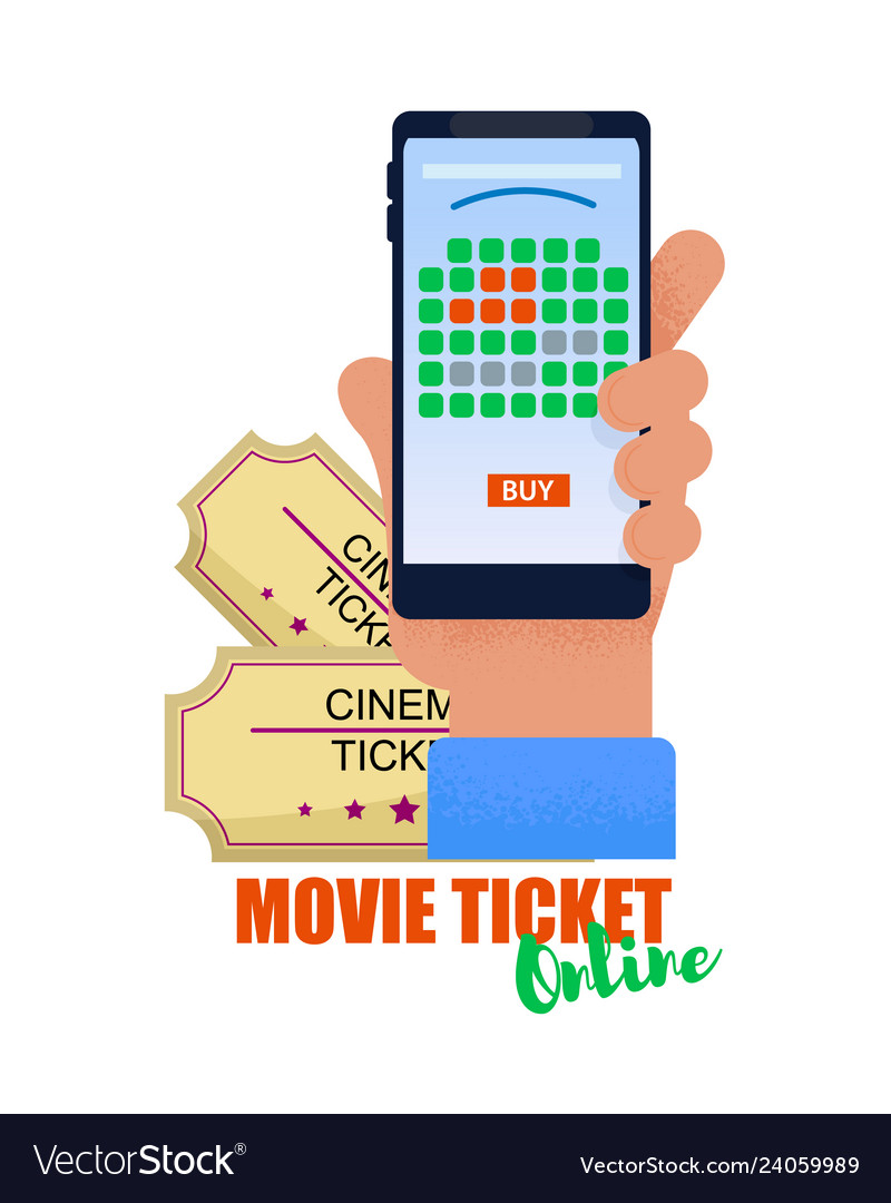 Flat banner movie ticket online white background