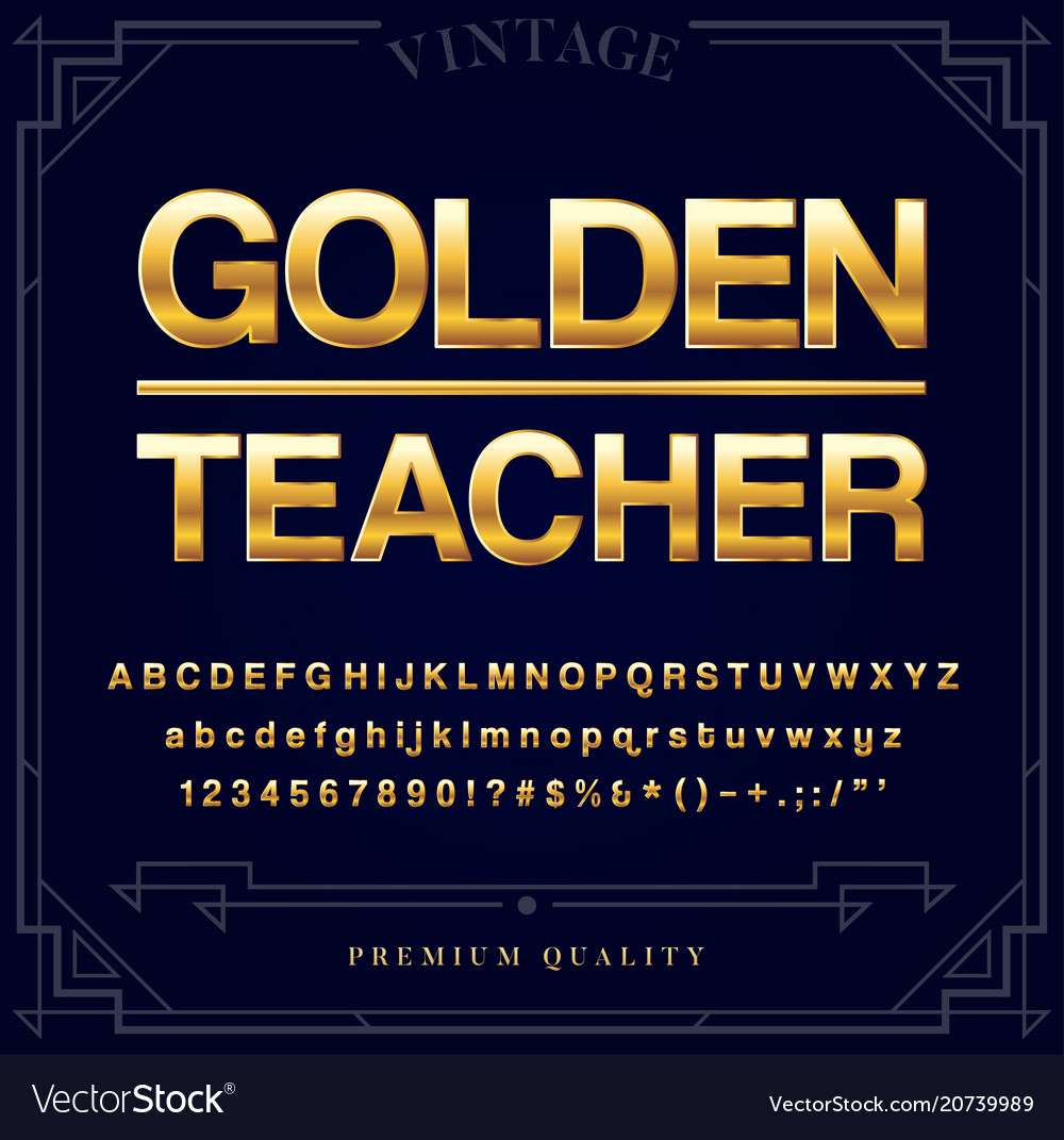 Gold metallic font set letters numbers and